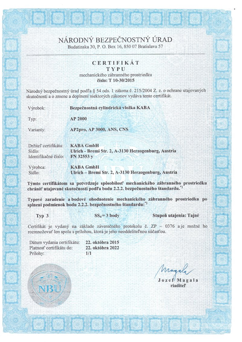 certifikát národný bezpečnostný úrad